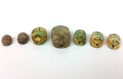 7 Ancient Egyptian Faience Scarab Beetles Amulet Figurines with Hieroglyphs BC