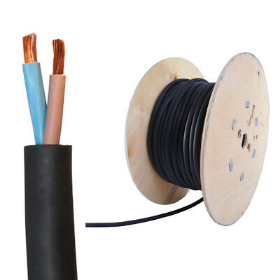 All Lengths 2 Core 1.5mm 2.5mm H07RN-F Rubber Cable Heavy Duty Pond Outdoor