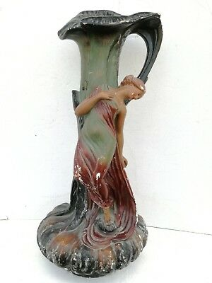 Important Art Nouveau erotic Girl Vegetal vase signed mark France Paris 1900
