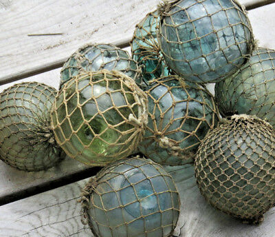 "Japanese Glass Fishing Floats 3-3.5"" Lot-9 Grungy Sea Scum Marine Antique Nets"