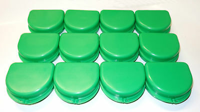 12 Dental Orthodontic Retainer Denture Mouth Guard Case Bleach - Green
