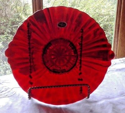 Vintage ROYAL Ruby RED Glass ANCHOR Hocking SCALLOPED  Candy Bowl Closed Handles