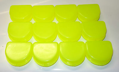 12 Dental Orthodontic Retainer Denture Mouth Guard Case Bleach - Yellow