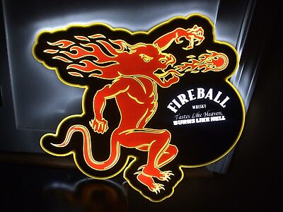 Fireball Whisky Led Bar Sign Man Cave Garage Whiskey Cinnamon Lighted Light
