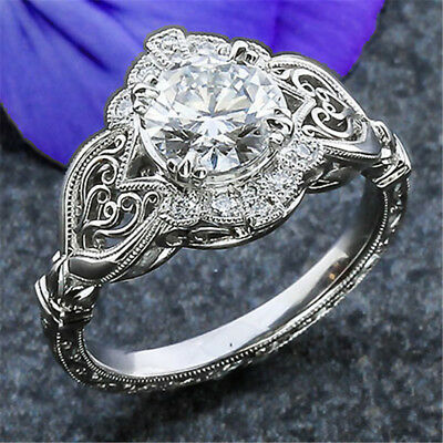 Gorgeous 925 Silver Jewelry Women's Wedding Rings White Sapphire Size6-10