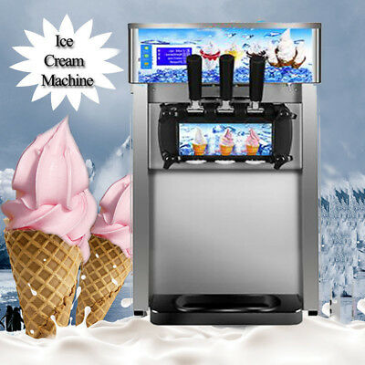 【USPS】Commercial Small Desktop Soft Ice Cream Making Machine 1200W 3 Flavor 110V