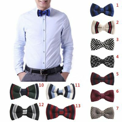 US Fashion Men's Multi-Colour Striped Bowtie Knit Knitted Pre Tied Bow Tie Woven
