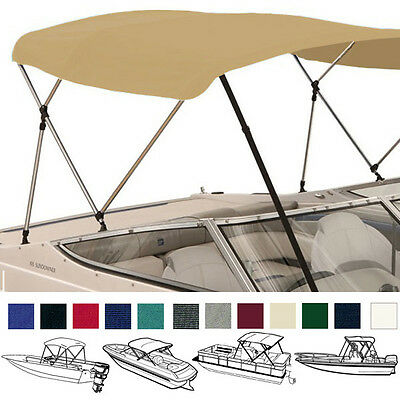"Bimini Top Boat Cover Tan 3 Bow 72""l 54""h 67""-72""w - W/ Boot & Rear Poles"