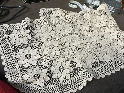 Mums hand crocheted 96cm long x 36 cm wide long doily or table runner VGUC