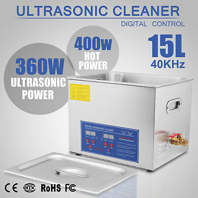 15L Liter Industry Ultrasonic Cleaners Cleaning Equipment Heater w/Timer 760W