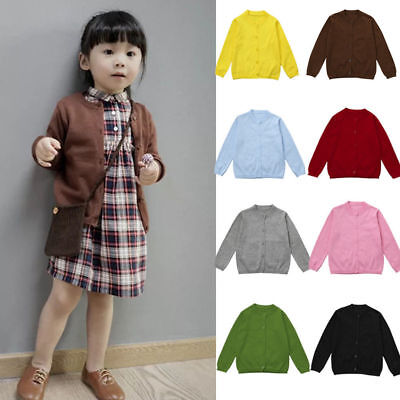 12M-5T Toddler Kid Knitted Cotton Sweater Cardigan Casual Clothes Coat Jacket AU