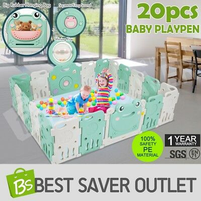 20 Sided Panel Baby Playpen Interactive Kids Safety Gate Child Barrier Frog ABST