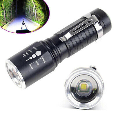 T6 Zoomable Tactical Military 10000Lumens XM-L 18650 Flashlight Torch LED Lamp