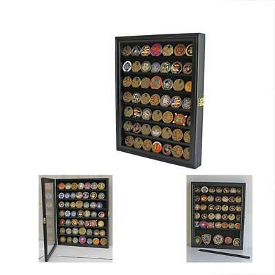 Challenge Coin/Casino Chip Display Case Cabinet Holder Shadow Box, Glass Door,
