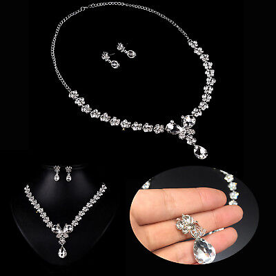 Hot Wedding Bride Crystal Butterfly Necklace Earrings Jewelry Set Mother Gift