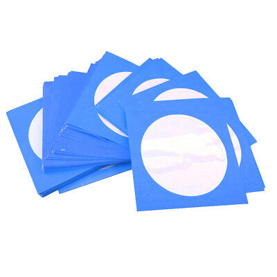 100PCS CD DVD Disc Storage Cover Clear Window Envelope Holder Sleeves Blue