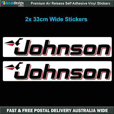 Johnson Outboard Stickers x2 33cm wide suits cowling sticker #J009