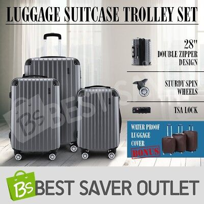 3x Travel Lightweight Luggage Suitcase Trolley Set Carry On Bag Hard Case-Grey