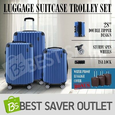 New 3pc Luggage Lightweight Suitcase Trolley Set TSA Carry On Bag Hard Case-Blue
