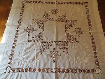 Vintage Antique Tablecloth Pulled Thread Hand Embroidered 1930's