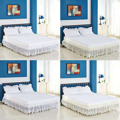 Vintage Crochet Lace Ruffle Elastic Band Bed Skirt S/M/L/XL Size