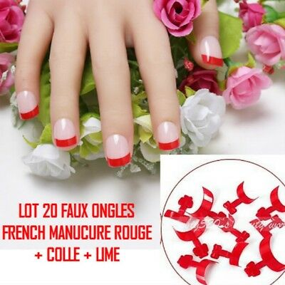 Lot 20 Tips Faux Ongle Rouge French Manucure Gel Uv Vernis Colle Lime Ong108