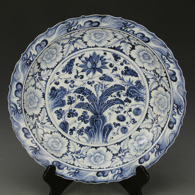 China antique Porcelain Yuan blue white flower leaf of Japanese banana plate