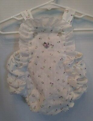 Vtg Infant Romper Baby Girls Stone Apparel 3-6 months White Purple & Pink Floral