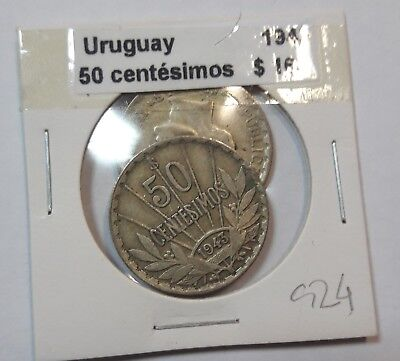 Uruguay 50 Centesimos 1943  KM #31 -  LOT OF 2 CIRCULATED SILVER COIN  #924