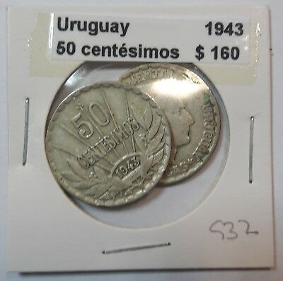 Uruguay 50 Centesimos 1943  KM #31 -  LOT OF 2 CIRCULATED SILVER COIN  #932
