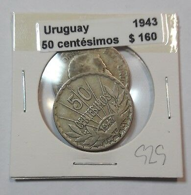 Uruguay 50 Centesimos 1943  KM #31 -  LOT OF 2 CIRCULATED SILVER COIN  #929