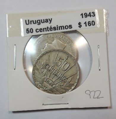 Uruguay 50 Centesimos 1943  KM #31 -  LOT OF 2 CIRCULATED SILVER COIN  #922