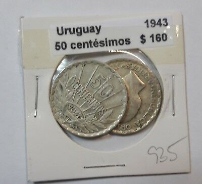 Uruguay 50 Centesimos 1943  KM #31 -  LOT OF 2 CIRCULATED SILVER COIN  #935