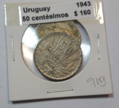 Uruguay 50 Centesimos 1943  KM #31 -  LOT OF 2 CIRCULATED SILVER COIN  #919