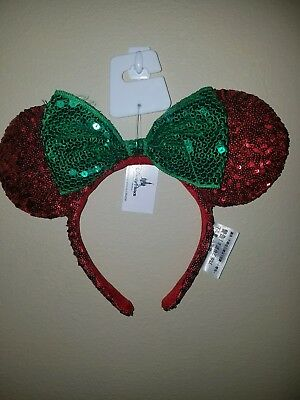 NEWDisney Parks 2017 Minnie Mouse Ear and Bow Christmas Holiday Sequin Headband