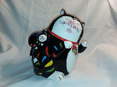 CKR Black and multicolor cat cookie jar  #  3413
