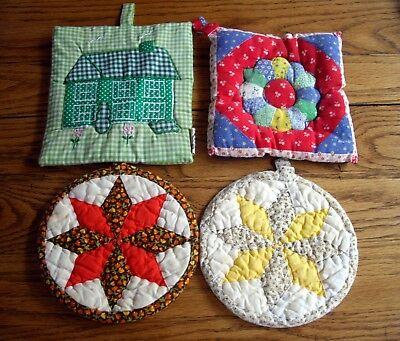 Pot Holders Quilted 2 Round & 2 Square ~ Set of 4 ~