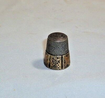 Vintage Sterling Thimble 6 Paneled Band  Marked Shield with S size 8