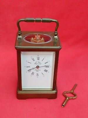 Large Vintage Brass L'epee Carriage Clock & Key. Working Well