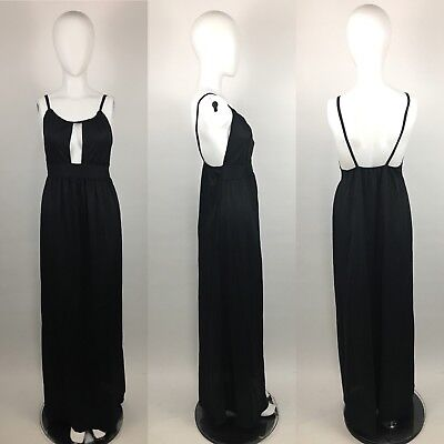 Lane Bryant Tall Shop VTG High Neck Black Long Nightgown Slip Dress S - T8489