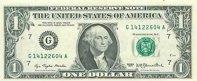1977 series G/A G/B G/D G/E (CHICAGO) $1 Federal Reserve Note One Dollar Bill