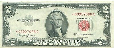 1953 series C **STAR** RED Seal $2 United States Note Two Dollar Bill