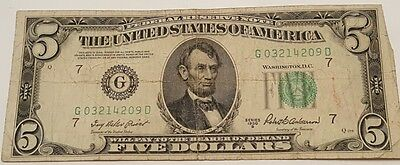 1950-B G/D $5 Five Dollar Federal Reserve Note Bill US Currency