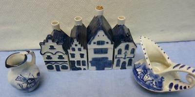 #1 #2 #7 #6- 4 KLM Blue Delft Row Houses-Rynbende Distilleries + 2 mini pitchers