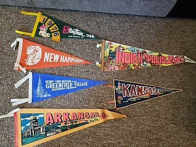 Vintage Lot Of Traveling Pennants Kansas Lake George New York Dearborn Michigan