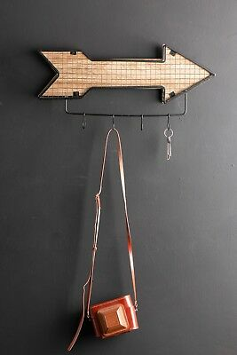 Small Wall Coat Hooks Arrow Wire Industrial Style Black Metal Storage Wood