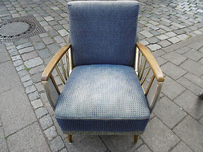 The 60er Cocktail Chairs Lounge Chair Club Chair Blue Wood Chair Armrest