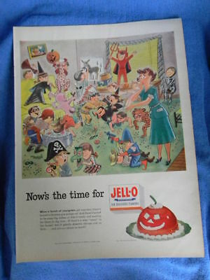 1952 Vintage Orig Magazine Ad Jello Jell-o Now's The Time Halloween Party Kids