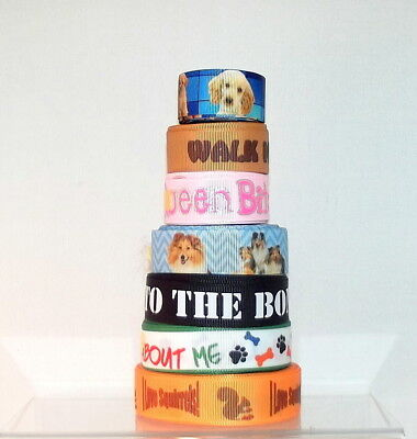 CLEARANCE! PRINTED GROSGRAIN Ribbon Dogs & Dog Slogans 22/25mm wide