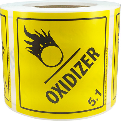 Hazard Class 5 D.O.T. Oxidizer Labels 4x4 Inch Square 500 Adhesive Labels